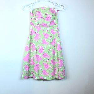 Lilly Pulitzer Strapless Dress Elephant Pink Green
